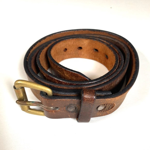 Vintage Brown Leather Broken In Distressed Belt 44